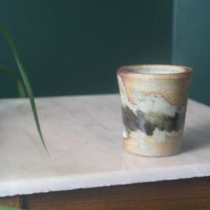 vtg 70s artisan ceramic pottery candle cup